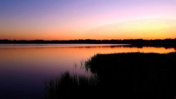 Reservoir, Russia, Tambov, Sunset, Water, Nature