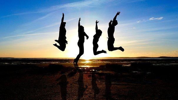 Sunset, Sea, Beach, Jump, Ocean, Twilight, Evening