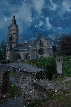 Landscape, Fantasy, Fantasy Landscape, Snow, Church