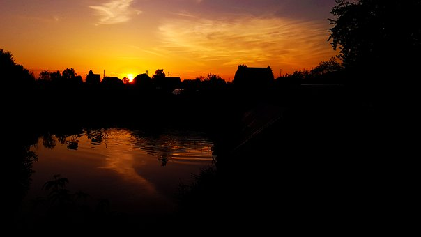 Sunset, Dacha, Evening, Water, Sky, Cottage