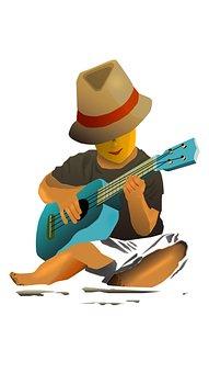 Vectorart, Play, Ukulele, Guitar, Boy, Beach, Persoon