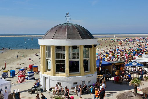 Borkum, Music Pavilion, Pavilion, Sky, Sun, Water, Sea