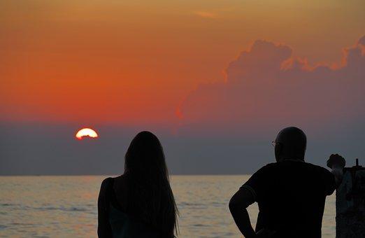 Sunset, Man, Woman, Dusk, Silhouette