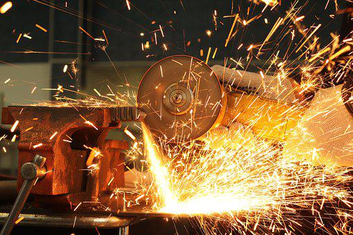 Worker Cuts Metal, Bulgarian, Work With Electric Tool