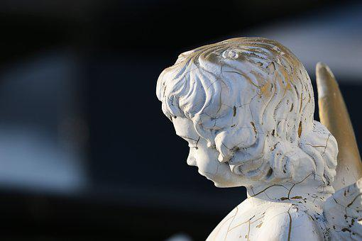 Angel Statue, Sad, White Stone, Figure, Monument, Wings