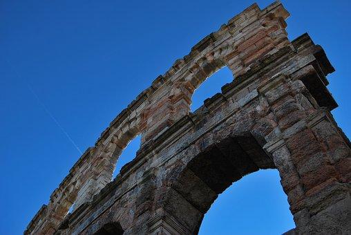 Verona, Arena Di Verona, Blu, Cielo, Sky, Architecture