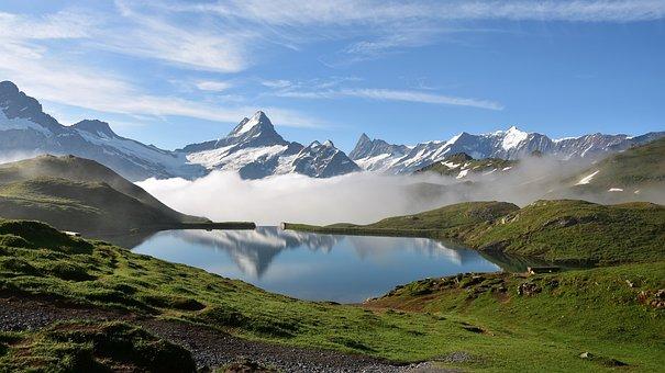 Bachalpsee, Mountains, Bergsee, Finsteraarhorn