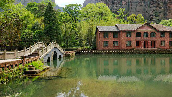 Lake, Bridge, Old, Traditional, China, House, Mountains