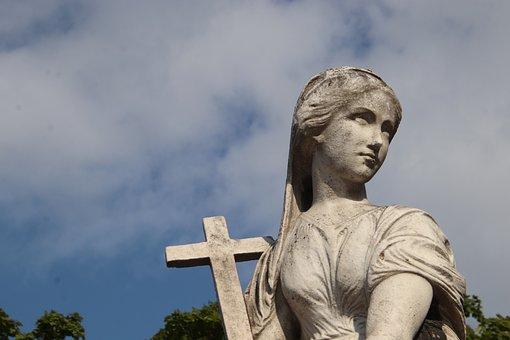 Sculpture, Statue, Pierre, Bust, Young Woman, Cross