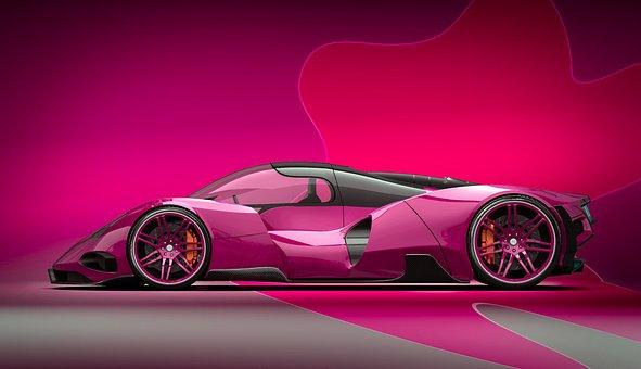 Purple, Car, Concept, Vehicle, Auto, Speed