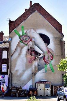 Graffiti, Düsseldorf, Art, Facade, Wall, Art Form