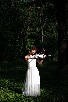 Violinist, Violin, Elf, Forest, Music, Atmosphere
