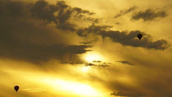 Hot Air Balloons, Evening Sky, Dusk, Sunset, Light