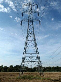 Pylon, Electricity, Blue, Landscape, Power, Energy, Sky