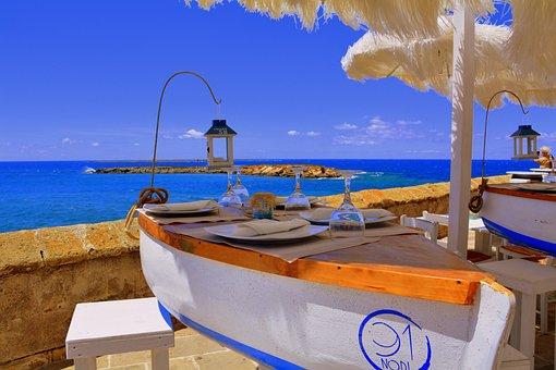 Table, Glasses, Sea, Landscape, Umbrellas, Restaurant