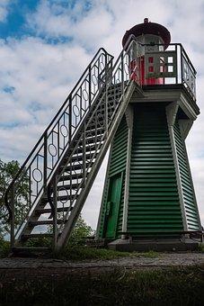 Lighthouse, Elbe, Hamburg, Coast, Water