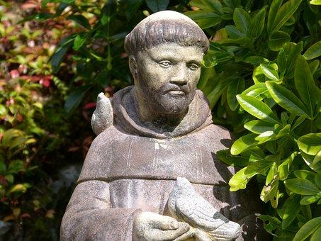 Saint, Francis, Statue, Green, Leaves, Sculpture