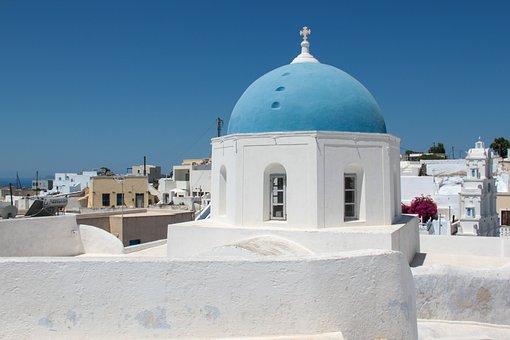 Akrotiri, Santorini, Church, Blue, White, Tradition