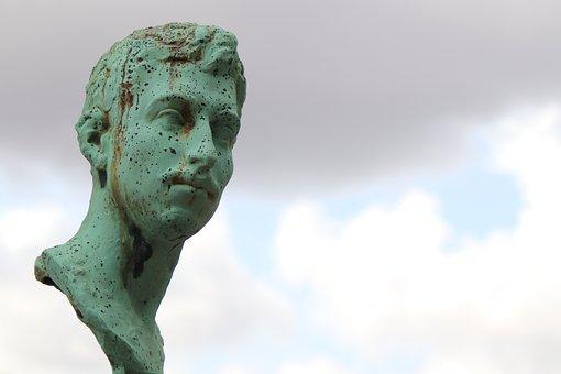 Sculpture, Statue, Bronze, Gray-green, Patina, Cemetery