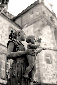 Sculpture, Monument, Sophie Of Brabant, Marburg, Hesse