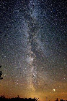 Milky Way, Starry Sky, Night, Planet, Jupiter, Universe
