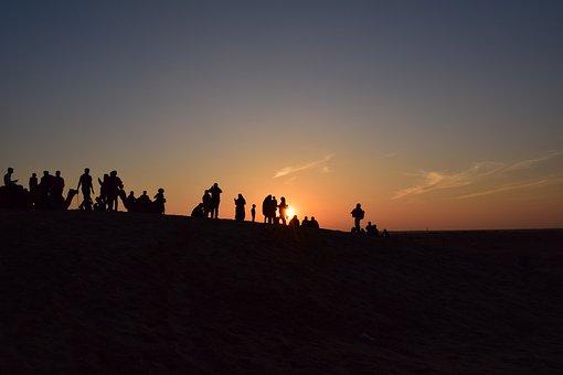 Desert, Sunset, Landscape, Sand, Nature, Sky, Sun