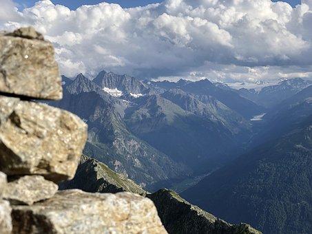 Mountain, Kauns, Tyrol, Tirol, Sunrise, Sunset, Man