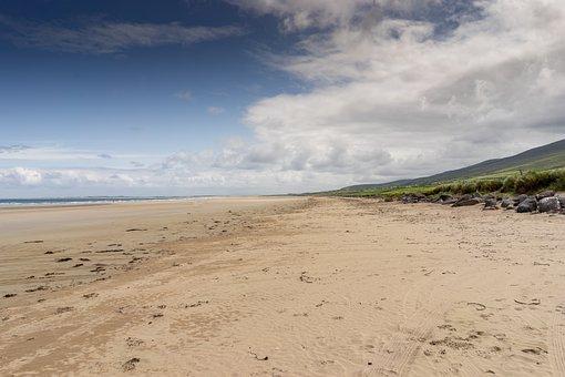 Beach, Sea, Sun, Ireland, Clouds, Summer, Vacations