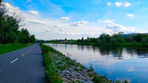 Path, River, Vltava, Prague, Water, Nature, Landscape