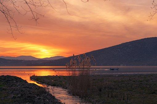 Sunset, Lake, Kastoria, Greece, Water, Sky, Nature