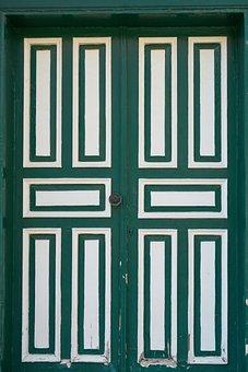Green, Wood-fibre Boards, Door, Old, Architecture