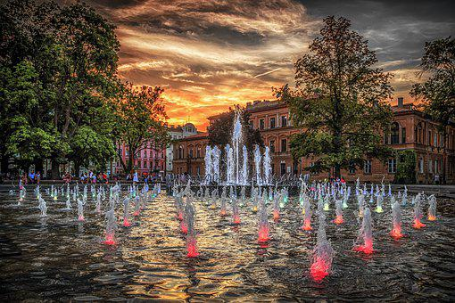 Fountain, Multimedia, Lublin, Waterworks, Attraction