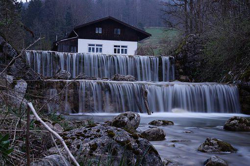 Bach, Dusk, Waterfall, Forest Lodge, Water, Nature