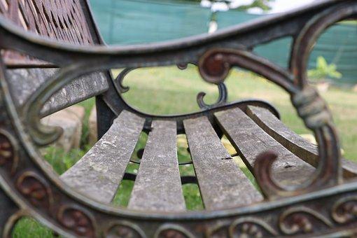 Bench, Wood, Seat, Park, Spring, Iron, Nature, Grass