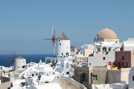 Santorini, Oia, Mill, Greece, Travel, White, Blue
