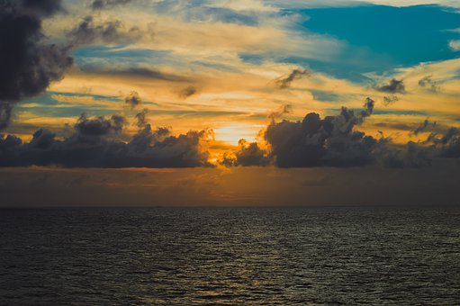 Sunset, Ocean, At Sea, Orange, Blue, Sky, Sea, Evening