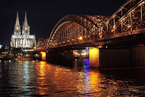 Cologne, Bridge, River, Night, Germany, Rhine