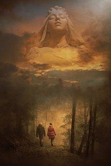 Goddess, Mother Of Nature, Sunset, Walking, Fantasy
