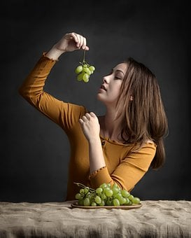 Girl, Grapes, Beauty, Eating, Fruit, Diet, Raw, Food