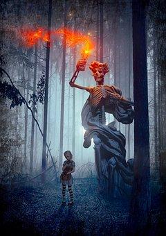 Book Cover, Fantasy, Skeleton, Forest, Girl, Fire