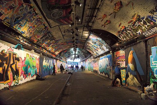 London, Leake, Street, Tunnel, Grafitti, Lambeth