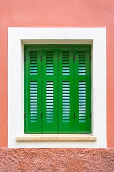 Green, Window, Frame, Closed, Shutter, Red, Wall