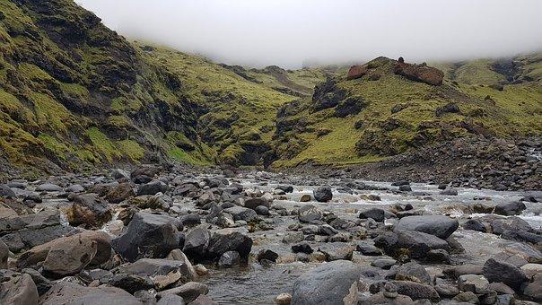 Iceland, River, Rocks, Water