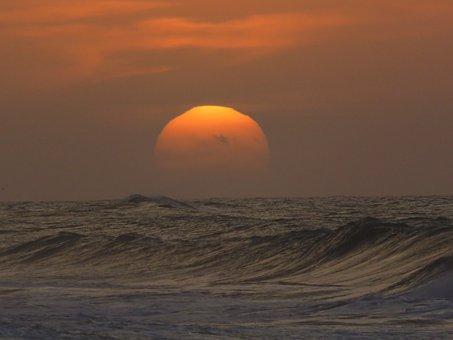 Sunset, Sun, Sea, Horizon, Beach, Orange, Summer, Ocean