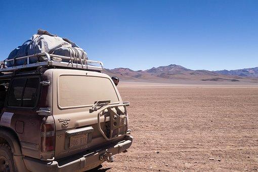 Bolivia, Desert, Salt Field, Car, Dust, Dirt, Sand