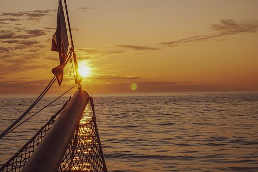 Sunset, Sea, Ship, Water, Boat, Ocean, The Sun