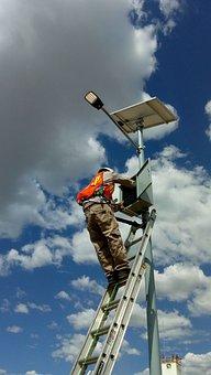Solar Energy, Posts, Energy, Sky, Man Working, Security