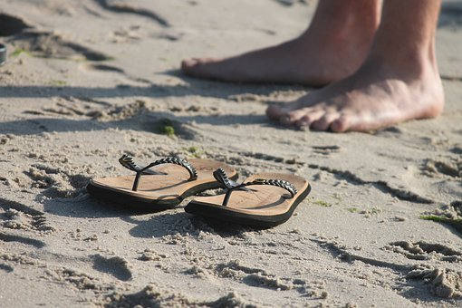 Sandals, Slippers, Beach, Sand, Legs, Feet