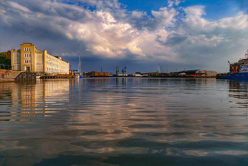 Bremerhaven, Clouds, Water, Docks
