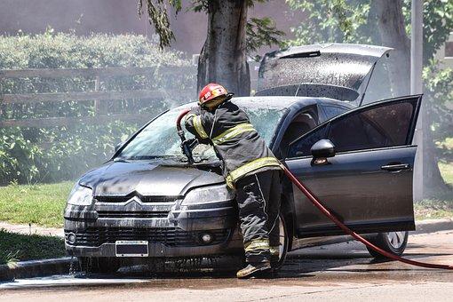 Fire, Automobile, Smoke, Water